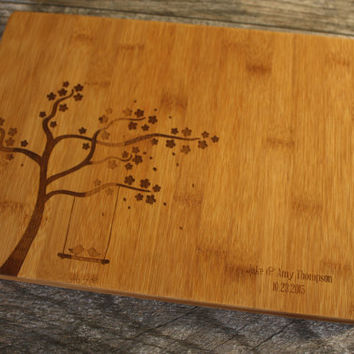 Personalized Cutting Board  -Love Birds Cutting Board - Perfect Wedding Gift, Engagement Gift, Anniversary Gift, or Gift for yourself!