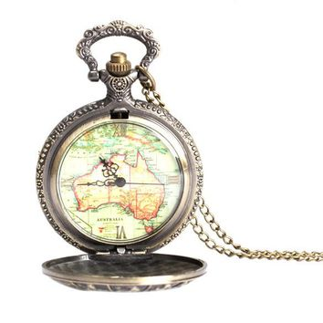 Elegant Retro Large 12 Constellation Map Design Pocket Watch Necklace Chain LXH