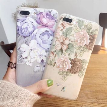 Pink Girl Flower Plants Matte Cover For iPhone 6 6S 6/7/8 Plus Birdie Cherry Blossoms Silicone Phone Case For iPhone 6 Case