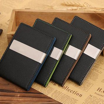 Mens Wallets Leather Magic Credit Card ID Holder Money Clip Wallet #YW