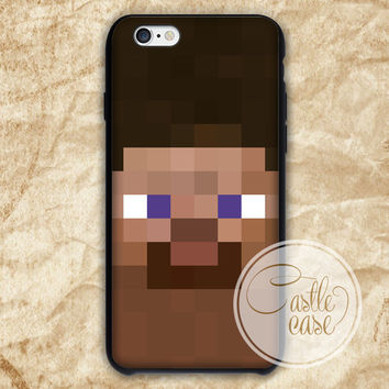 Minecraft Steve Black White iPhone 4/4S, 5/5S, 5C Series Hard Plastic Case