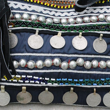FREE SHIPPING - Beautiful Vintage Banjara Gypsy handbag, Bag with Old coins and Beads work, Sling Bag, Hippie Style Handbag
