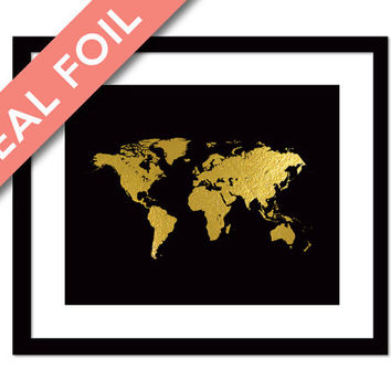 Shop gold foil world maps on wanelo world map gold foil print globe map art print foil map g gumiabroncs Choice Image