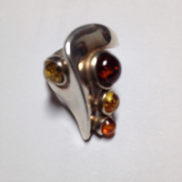 Stunning Modern Baltic Amber 925 Sterling Silver Statement Ring Size 8.5
