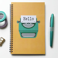 Writing journal, spiral notebook, bullet journal, cute notebook, sketchbook, typewriter, blank lined or grid paper - hello