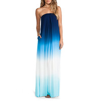 Color Block Strapless Asymmetrical Maxi Dress