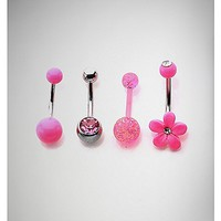 14 Gauge Pink Cz Flower Belly Ring 4 Pack - Spencer's