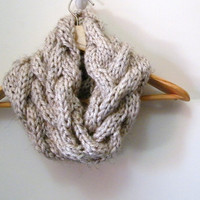 KNITTING PATTERN  Cable Cowl Infinity Scarf PATTERN  by LewisKnits