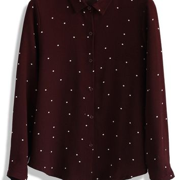 Sweet My Dots Crepe Shirt in Wine