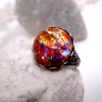 Sunset Dream Light Gold Opal Ring