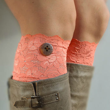 Coral Lace Boot Cuff socks , Soft Stretch lacy socks for boots