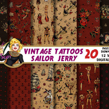 Vintage tattoos digital paper, Sailor Jerry, pin up, anchor, nautical star, sparrow, roses, old,  Scrapbooking Paper, patterns, backgrounds