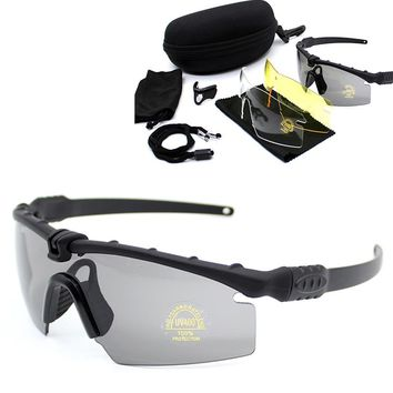 New Sport Glasses UV400 Protection Hiking Camping Outdoor Sunglasses Tactical Hunting Shooting Safety Goggles 3 Lens