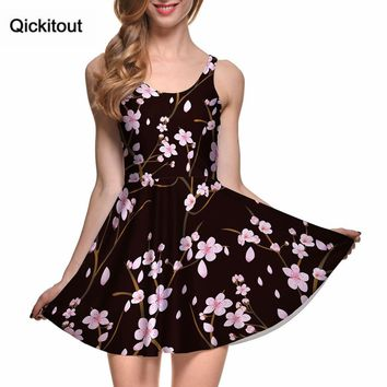 Drop Ship vestidos mujer tallas grandes Women Casual Dress CHERRY BLOSSOM BLACK REVERSIBLE SKATER DRESS Pleated Print Dresses