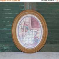 ON SALE Brown faux wood 11x14 oval picture frame, wall decor, rustic decor, country decor, large picture frame, vintage picture frame
