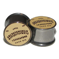 "Ouija Board Plugs - 1 Pair - Sizes 2g, 0g, 00g, 7/16"", 1/2"", 9/16"", 5/8"", 3/4"", 7/8"" & 1"""
