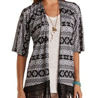 Printed Fringe Kimono Cardigan by Charlotte Russe