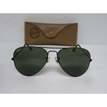 Cheap Vintage B&L Ray Ban Large Metal Black Chrome G-15 Gray L2823 Aviator 58mm USA outlet