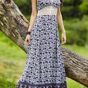 Bohemian Print Maxi Dress Lace Insert Sleeveless