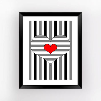 Op Art Print, Hearts Poster, Romantic Gift, Geometric Prints, Bedroom Wall Decor, Love Printable, Heart Print, Home Decor | MAGFEM ART #13