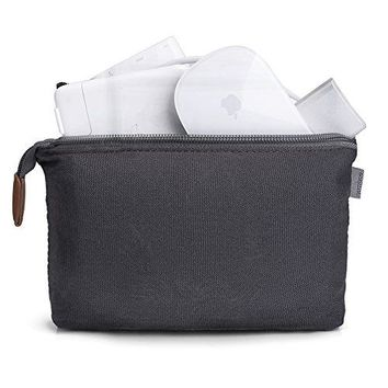 Tomtoc Portable Storage Pouch Bag Case Accessories Organizer for MacBook Laptop Mouse Power Adapter Cables Cellphone SSD HDD Enclosure Power Bank  Dark Gray