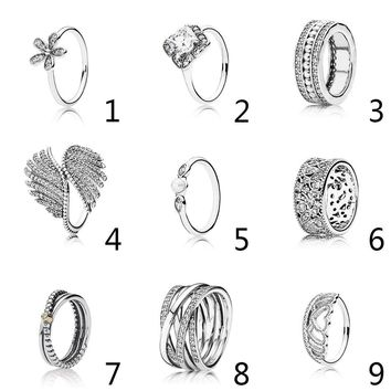 Authentic 925 Sterling Silver Crystalized Majestic Feathers With Crystal Ring For Women Wedding Party Gift fit Lady Jewelry