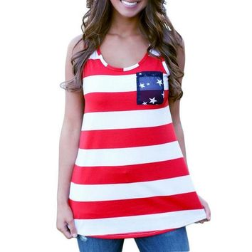 PEAPGB2 Fashion Women Summer Sexy Sleeveless Tops American USA Flag Print Stripes Tank Top for Woman Blouse Vest Shirt