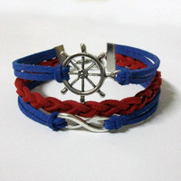 nautical bracelet, infinity bracelet, nautical charm and infinity charm, men's women's leather bracelets, braided bracelets