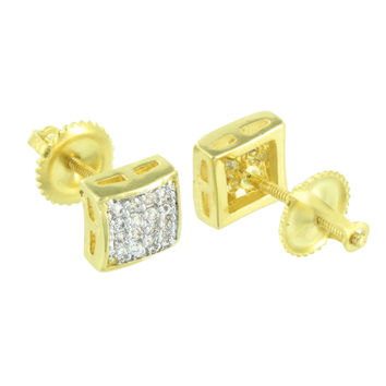 Gold Tone Mens Earrings Simulated Diamonds Screw On Pave Set 6 MM