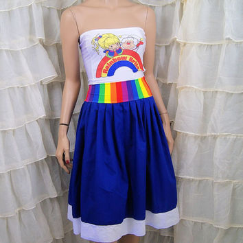 Retro Rainbow Brite Strapless Summer Sun Dress Cosplay Costume Adult All Sizes MTCoffinz (Add Straps Option)