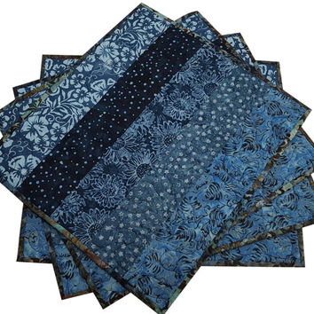Quilted Placemats in Shades of Blue Batik