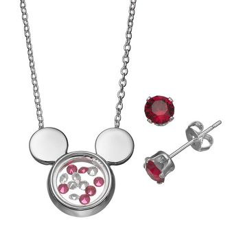 Disney's Mickey Mouse Floating Charm Pendant & Crystal Stud Earring Set - Made with Swarovski Elements (White)