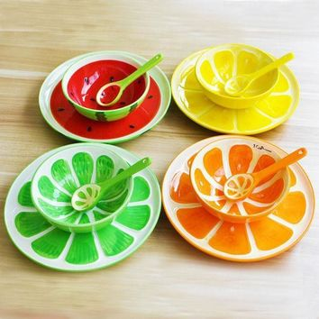 3pcs/ Glazed Hand Painted Ceramic Fruit Plate Spoons Bowl Fruit Plate Creative Home Dishes