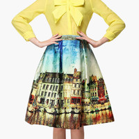 Yellow Macau Building Print High-Waisted Pleated Skater Midi Skirt