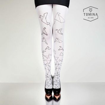 2016 fall new women's tights high quality european design hand-painted paper cranes printing 80D velvet pantyhose for women