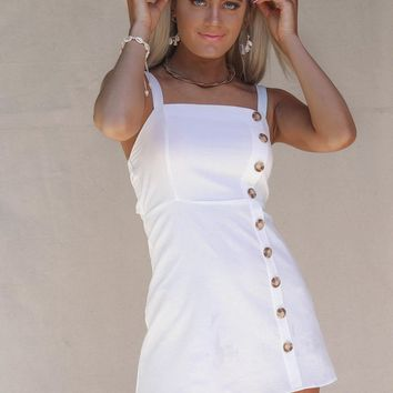 The Truth White Side Button Mini Dress