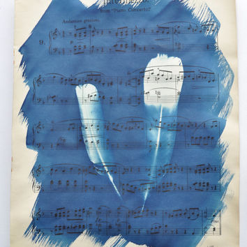 Unique Original Cyanotype on Vintage Sheet Music. Flowers - Blueprint, Sunprint, Photogram, Traditional Photograpy Print, by MABartStudio