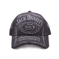 Jack Daniels Vintage Tennesse Whiskey Logo Official New Black Frayed Trucker Cap