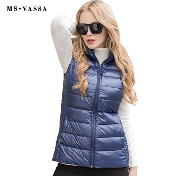 Ladies Vest Spring Light Down Women Vest Quilting Vest Wing Collar Blue Color High Quality Vest