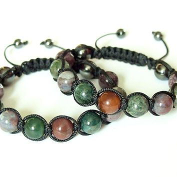 Mens Bracelet Indian Agate Natural Stone Jewelry Handmade Adjustable Black Beaded Bracelet Unique Gift for Him