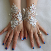 ivory, lace silver frame wedding gloves, costume gloves,bridal gloves, free shipping!