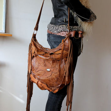 Rusted orange bohemian purse fringed bag with bird unique by sweet smoke bags raw front pocket rocker hippie free spirit people