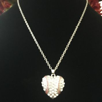 Baseball Bling Heart Rhinestone Necklace~Crystal Pendant~Baseball Mom~Baseball Gift~Handmade in the USA~FAST Shipping from the USA