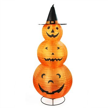 "48"" Pre-Lit Orange and Black Pumpkins with Witch Hat Halloween Yard Art Decoration"