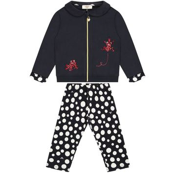 Armani Baby Girls Navy Blue Polka Dot Set