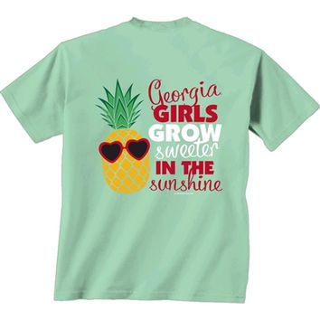 Georgia Bulldogs Pineapple Face T-Shirt | UGA Pineapple T-Shirt | Georgia Girls T-Shirt