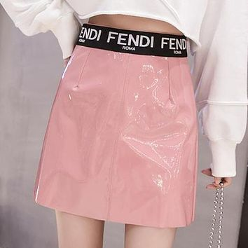 FENDI Newest Fashionable Women Sexy Paint Bright Leather High Waist Skirt Pink