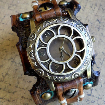 Women's watch Cuff, Leather wrist watch, Steampunk Watch, Leather Watch, Bracelet Watch, Distressed Watch