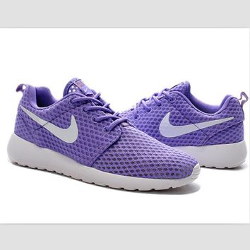 NIKE Roshe Run cellular breathable running shoes Light purple white