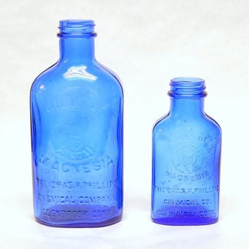 Vintage Phillips Milk of Magnesia Bottles Cobalt Blue Glass Rustic Decor Instant Collection